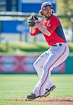 9 March 2014: Washington Nationals infielder Will Rhymes warms up prior to a Spring Training game against the St. Louis Cardinals at Space Coast Stadium in Viera, Florida. The Nationals defeated the Cardinals 11-1 in Grapefruit League play. Mandatory Credit: Ed Wolfstein Photo *** RAW (NEF) Image File Available ***