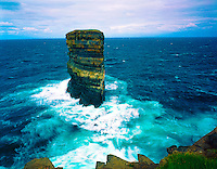 Sea Stack in Morning Light, County Mayo, Atlantic Ocean, Republic of Ireland