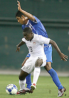 Freddy Adu #19 of the USA shields the ball from David Molina #3 of Honduras during a CONCACAF Gold Cup match at RFK Stadium on July 8 2009 in Washington D.C.USA won 2-0.
