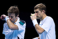 Max Mirnyi / Daniel Nestor  against  Mariusz Fyrstenberg /Marcin Matkowski in the Finals of the Barclays ATP World Tour Finals doubles. Mirnyi/Nestor beat Frystenberg/Matkowski 7-5 6-3..@AMN IMAGES, Frey, Advantage Media Network, Level 1, Barry House, 20-22 Worple Road, London, SW19 4DH.Tel - +44 208 947 0100.email - mfrey@advantagemedianet.com.www.amnimages.photoshelter.com.