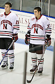 Mike Hewkin (Northeastern - 28), Rob Rassey (Northeastern - 37) - The Northeastern University Huskies defeated the Boston College Eagles 2-1 OT in the NU senior night game on Friday, March 6, 2009 at Matthews Arena in Boston, Massachusetts.