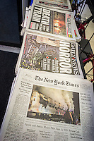 Front pages on Wednesday, February 4, 2015 of the New York Times, New York Daily News, and the New York Post report on the previous days crash of a Metro North commuter train at a crossing in Vahalla, NY. A vehicle was in the crossing and 6 people died including the driver of the car. (© Richard B. Levine)