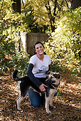 November 16, 2008. Durham, NC..2008 Citizen Award winner Amanda Arrington, head of the Coalition to Unchain Dogs, with saved dog, Casey.