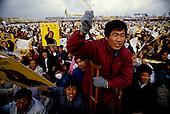 Inchon, South Korea<br /> December 8 1987<br /> <br /> Crowds cheer for Kim Dea-jong, the opposition leader to the ruling party campaigning during the South Korean presidential elections. <br /> <br /> Kim Dae-jung (3 December 1925 to 18 August 2009) was President of South Korea from 1998 to 2003, and the 2000 Nobel Peace Prize recipient. As of this date Kim is the first and only Nobel laureate to hail from Korea. A Roman Catholic since 1957, he has been called the &quot;Nelson Mandela of Asia&quot; for his long-standing opposition to authoritarian rule.