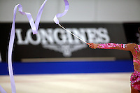 September 21, 2007; Patras, Greece;  Simona Peycheva of Bulgaria waves with ribbon (artistic impression image) during All-Around final at 2007 World Championships Patras.  Simona placed 10th in the AA to  help Bulgaria to receive the 1st of 2 positions for the individual All-Around competition at Beijing 2008 Olympics and the possibility of making her second Olympic Games.  Photo by Tom Theobald. .