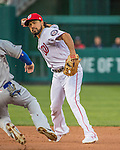 7 October 2016: Washington Nationals third baseman Anthony Rendon turns a double-play to end the first inning of the NLDS Game 1 against the Los Angeles Dodgers at Nationals Park in Washington, DC. The Dodgers edged out the Nationals 4-3 to take the opening game of their best-of-five series. Mandatory Credit: Ed Wolfstein Photo *** RAW (NEF) Image File Available ***