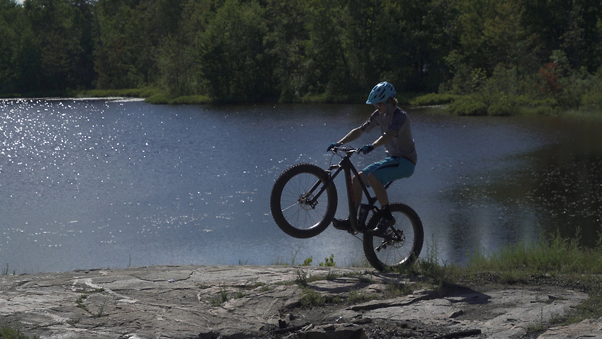 Mountain biking the Harlow Lake North Trails area of Marquette, Michigan