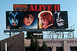 Billboard promoting the Kiss album Alive II on the Sunset Strip 1977