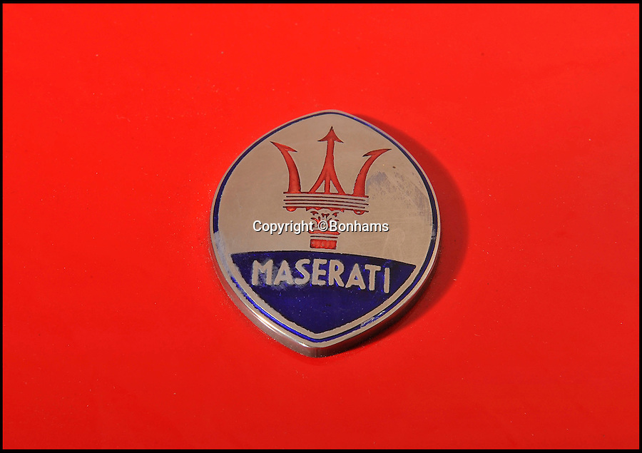 BNPS.co.uk (01202 558833)<br /> Pic: Bonhams/BNPS<br /> <br /> ***Please Use Full Byline***<br /> <br /> The Maserati badge on the bonnet of the car. <br /> <br /> Money, money, money... is what you need to get your hands on this plush Maserati sports car - because it used to belong to ABBA's Benny Andersson. <br /> <br /> The luxury red motor was bought brand new by the Swedish pop star after the band exploded onto the music scene with their catchy 1974 hit Waterloo - and it is now for sale for 80,000 pounds.<br /> <br /> Andersson, who with Bjorn Uvaelus penned most of ABBA's biggest hits including Super Trouper Money Money Money and Dancing Queen, snapped it up in 1976.<br /> <br /> Prospective buyers are now being invited to 'take a chance' on winning the car in an auction staged by Bonhams.