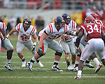 Ole Miss offensive lineman Jared Duke (74) against the Arkansas Razorbacks at Reynolds Razorback Stadium in Fayetteville, Ark. on Saturday, October 23, 2010.