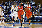 08 January 2015: Syracuse's Alexis Peterson (1) is followed up the court by Duke's Rebecca Greenwell (23) and Syracuse's Bria Day (55). The Duke University Blue Devils hosted the Syracuse University Orange at Cameron Indoor Stadium in Durham, North Carolina in a 2014-15 NCAA Division I Women's Basketball game. Duke won the game 74-72.