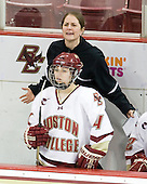 Katie King (BC - Head Coach), Melissa Bizzari (BC - 4) - The Boston College Eagles and the visiting University of New Hampshire Wildcats played to a scoreless tie in BC's senior game on Saturday, February 19, 2011, at Conte Forum in Chestnut Hill, Massachusetts.