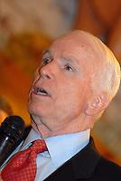 Republican presidential hopeful, Sen. John McCain (R-AZ) speaks to supporters, Feb. 20, 2008, at Young's Jersey Dairy in Yellowsprings, Ohio (Ron Humphrey/PressPhotoIntl.com)