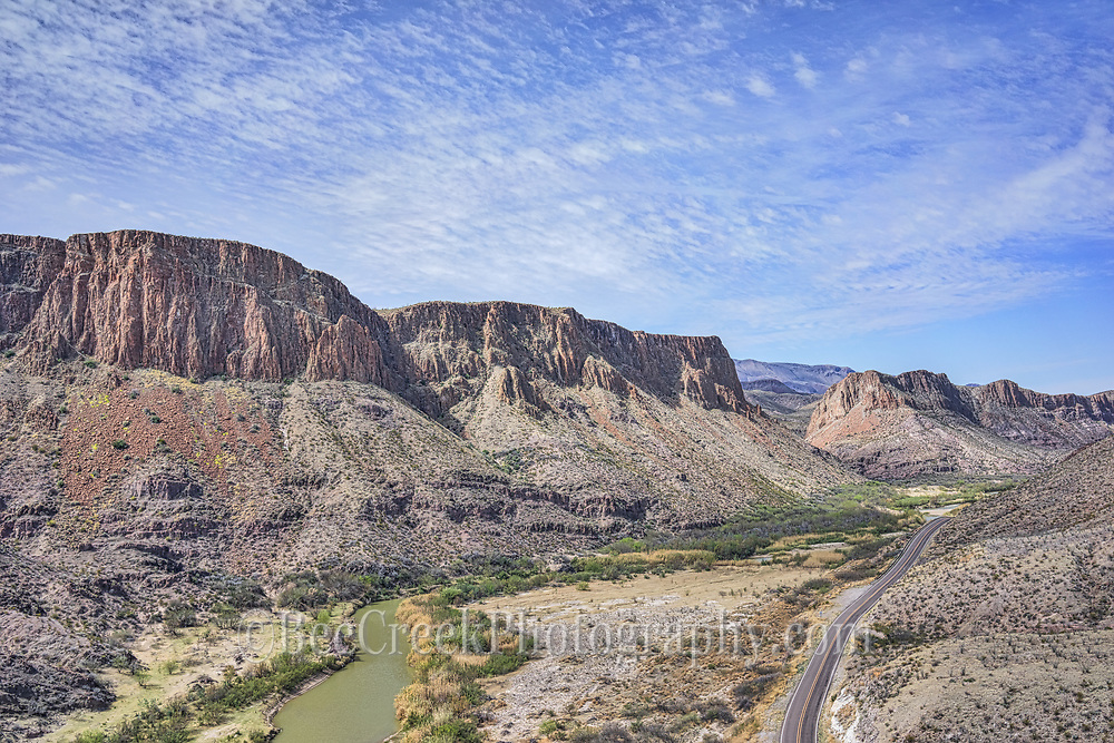 Captured this aerial view of Big Bend State Park with the Rio Grande river along with the river road and the US, and Mexican mountain range in view.