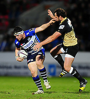 Cameron Neild of Sale Sharks fends Bismarck Du Plessis of Montpellier. European Rugby Challenge Cup quarter final, between Sale Sharks and Montpellier on April 8, 2016 at the AJ Bell Stadium in Manchester, England. Photo by: Patrick Khachfe / JMP
