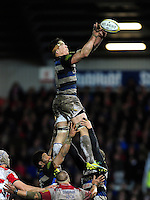 Francois Louw of Bath Rugby rises high to win lineout ball. Aviva Premiership match, between Gloucester Rugby and Bath Rugby on March 26, 2016 at Kingsholm Stadium in Gloucester, England. Photo by: Patrick Khachfe / Onside Images