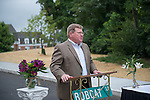 Stephen Golding, Vice President for Finance and Administration speaks at the poening of Bobcat Lane. Photo by Ben Siegel