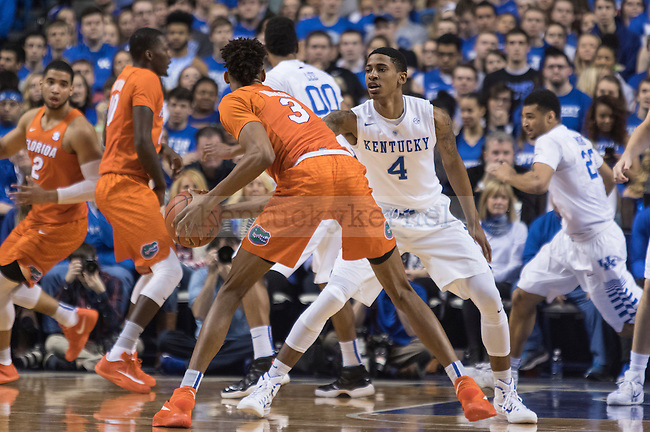 Guard Charles Matthews guards a Florida player during the game against the Florida Gators at Rupp Arena on February 6, 2016 in Lexington, Kentucky. Kentucky defeated Florida 80-61.
