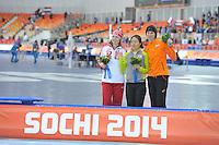 OLYMPICS: SOCHI: Adler Arena, 11-02-2014, 500m Ladies, podium, Olga Fatkulina (RUS), Sang-Hwa Lee (KOR), Margot Boer (NED), ©foto Martin de Jong