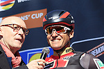 Pre race favourite Olympic Champion Greg Van Avermaet (BEL) BMC Racing Team on stage before the start of Gent-Wevelgem in Flanders Fields 2017, running 249km from Denieze to Wevelgem, Flanders, Belgium. 26th March 2017.<br /> Picture: Eoin Clarke | Cyclefile<br /> <br /> <br /> All photos usage must carry mandatory copyright credit (&copy; Cyclefile | Eoin Clarke)