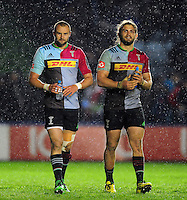 Ross Chisholm and Luke Wallace of Harlequins. European Rugby Challenge Cup semi final, between Harlequins and Grenoble on April 22, 2016 at the Twickenham Stoop in London, England. Photo by: Patrick Khachfe / JMP