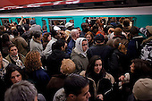 Paris, France.November 15, 2007..A scuffle breaks out to board a rush hour train as tensions run high among commuters at Chatelet were trains were infrequent. French unions continue an open-ended strike in public transport (SNCF, RATP, ...), yet most workers at the EDF electricity and GDF gas utilities returned to work after taking action the previous day, in a major test for President Nicolas Sarkozy's reform plans. They are protesting against the scrapping of pension privileges that allow some public employees to retire as early as age 50...