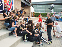 Vancouver - Canada, Sunday, July 6, 2015: The USWNT at Fox Studios in Vancouver after their victory over Japan in the 2015 Women's World Cup. Simon Bruty directs a photo shoot for Sports Illustrated.