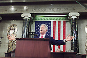 United States President Bill Clinton spreads his arms as he addresses the Congress late 27 January, 2000 during his final State of the Union address in Washington, DC.   <br /> Credit: Steven Jaffe - Pool via CNP