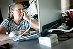 SHOT 10/23/12 3:24:02 PM - Patti Di Pino, 56, has been looking for work for three years since her divorce from her husband of 30 years. Despite a resume that includes three decades as a payroll processor, employers, she says, continue to pass her over because she has been out of the workforce for so long. Relying on a small savings account, she lives in an RV in Aurora, Colo. and scans the Internet for job leads occasionally working odd jobs to help pay the bills..(Photo by Marc Piscotty / © 2012)