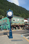 Alaska, Juneau: Shopping in downtown Juneau.  Clock at Front and Franklin Streets. .Photo #: alaska10119 .Photo copyright Lee Foster, 510/549-2202, lee@fostertravel.com, www.fostertravel.com..