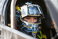 Sep 16, 2016; Concord, NC, USA; NHRA top fuel driver Leah Pritchett during qualifying for the Carolina Nationals at zMax Dragway. Mandatory Credit: Mark J. Rebilas-USA TODAY Sports