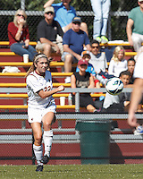 Boston College defender McKenzie Meehan (22) passes the ball. Virginia Tech (maroon) defeated Boston College (white), 1-0, at Newton Soccer Field, on September 22, 2013.
