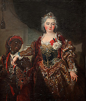 Portrait of Princess Rakoczi, 1649-1722, and her black manservant, oil painting, in the Musee d'Aquitaine, Cours Pasteur, Bordeaux, Aquitaine, France. The Princess is Charlotte Amelia, daughter of the Landgrave of Hesse-Rheinfels who married the Hungarian patriot Francis Rakoczi II, Prince of Transylvania. Bordeaux was an important slave trading city, many African slaves passed through Bordeaux and its white inhabitants also settled the West Indies as plantation owners. Picture by Manuel Cohen