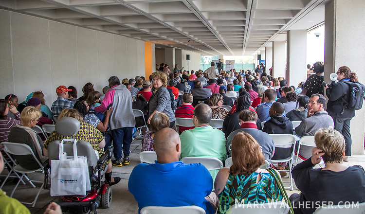 A large crowd gathered under the senate portico during the Developmental Disabilities Awareness Day 2017 at the Florida Capitol sponsored by the Florida Developmental Disabilities Council, Inc and The Arc of Florida.