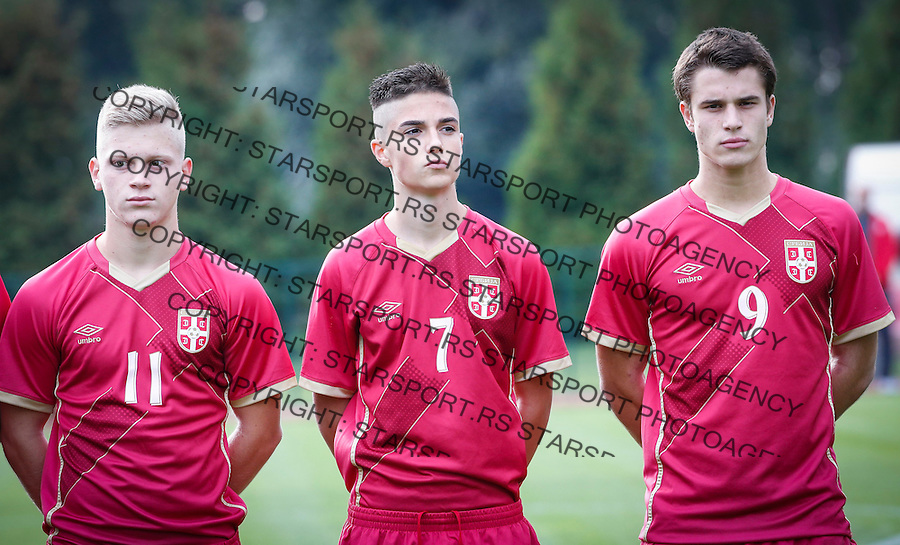 Fudbal Soccer<br /> International Friendly-Prijateljski mec<br /> Srbija U17 v Belorusiaj U17<br /> from left  Jovan kokir Aleksa Jankovic Filip Stuparevic<br /> Stara Pazova, 20.09.2016<br /> foto: Srdjan Stevanovic/Starsportphoto &copy;
