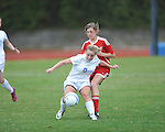 Oxford High's Ali McGee (10) vs. Lafayette High's Lizzie Gardner (5) in girls high school soccer in Oxford, Miss. on Saturday, December 8, 2012.