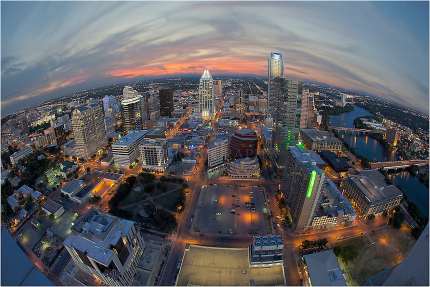 The city of Austin from the roof of the 360 Condominium building. This warped view of Austin, Texas, was taken with a 15mm fish eye lens.