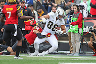 College Park, MD - October 1, 2016: Purdue Boilermakers tight end Cole Herdman (88) is tackled by a Maryland Terrapins defender during game between Purdue and Maryland at  Capital One Field at Maryland Stadium in College Park, MD.  (Photo by Elliott Brown/Media Images International)