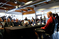Toronto, ON, Canada - Thursday Dec. 08, 2016: Michael Bradley, Jozy Altidore, Greg Vanney during a press conference prior to MLS Cup at the Kia Training Grounds.