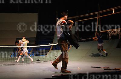 »Brickland« ,premiére by CONSTANZA MACRAS/ DORKYPARK at the Schaubuehne,Berlin,Germany,11-12-07 with Ronni Maciel, Gail Sharrol Skrela