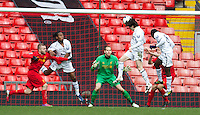 LIVERPOOL, ENGLAND - Easter Monday, April 1, 2013: Tottenham Hotspur's Cristian Ceballos scores the second goal against Liverpool during the Under 21 FA Premier League match at Anfield. (Pic by David Rawcliffe/Propaganda)