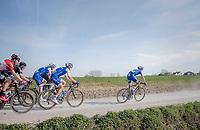 peloton led by Zdenek Stybar (CZE/Quick Step Floors) racing over the newly added gravel roads around Ploegsteert, called 'Plugstreets'<br /> <br /> 79th Gent-Wevelgem 2017 (1.UWT)<br /> 1day race: Deinze &rsaquo; Wevelgem - BEL (249km)