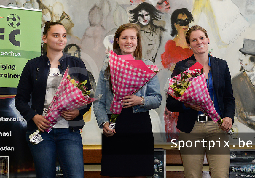 20150529 – OOSTENDE , BELGIUM : Nicky Evard , Diede Lemey , Sofie Van Houtven pictured during  the 1st edition of the Sparkle  award ceremony , Friday 29 May 2015, in Oostende . The Sparkle  is an award for the best female soccer player during the season 2014-2015 comparable to the Golden Shoe / Gouden Schoen / Soulier D'or for Men . PHOTO DAVID CATRY