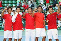 (L to R) Yuichi Sugita, Kei Nishikori,  Eiji Takeuchi Head coach, Tatsuma Ito, Go Soeda (JPN), September 18, 2011 - Tennis : Davis Cup 2011, World Group play-off at Ariake Colosseum, Tokyo, Japan. (Photo by Daiju Kitamura/AFLO SPORT) [1045]