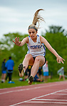 LITCHFIELD,  CT-052017JS01- Litchfield's Amber Marino complete in the long jump during the Berkshire League Outdoor Track and Field Championships Saturday at the Plumb Hill Sports Complex in Litchfield. <br /> Jim Shannon Republican-American