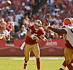 San Francisco 49ers quarterback Jeff Garcia (5) passes ball down field on Sunday, September 21, 2003, in San Francisco, California. The Browns defeated the 49ers 13-12.