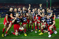 The Saracens team celebrate with the European Rugby Champions Cup trophy. European Rugby Champions Cup Final, between Saracens and Racing 92 on May 14, 2016 at the Grand Stade de Lyon in Lyon, France. Photo by: Patrick Khachfe / Onside Images