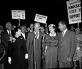 Washington, D.C. - August 28, 1956 -- Eisenhowers and Nixons arrive at Washington National Airport on August 28, 1956. (L-R) First Lady Mamie Eisenhower; United States President Dwight D. Eisenhower; Pat Nixon; and Vice President Richard M. Nixon..Credit: Consolidated News Photos
