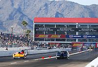 Feb 25, 2017; Chandler, AZ, USA; NHRA super gas driver XXXX alongside Clint Fishel during qualifying for the Arizona Nationals at Wild Horse Pass Motorsports Park. Mandatory Credit: Mark J. Rebilas-USA TODAY Sports