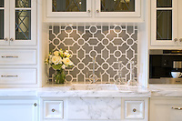 Chatham 1 Stone Waterjet Mosaic shown in Driftwood and Calacatta Tia honed.-photo courtesy of Joanne Posse